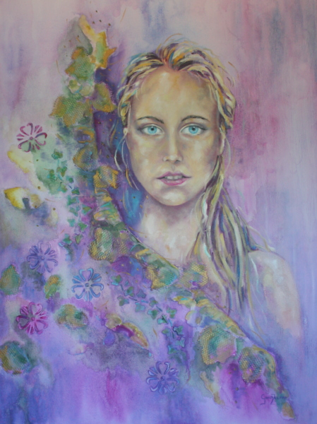"""Abnoba """"Celtic goddess of forests and rivers""""   Mixed   101x76cm    R 15 500-00"""