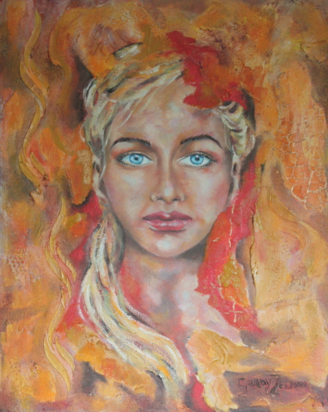 "Brigit "" Celtic goddess of fire, poetry, arts and crafts""  Mixed media  51x40cm  R3500-00"