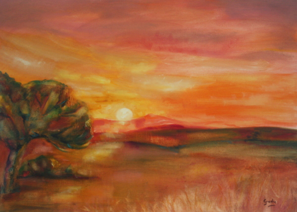 Sunset in Africa  Sold  50x69cm